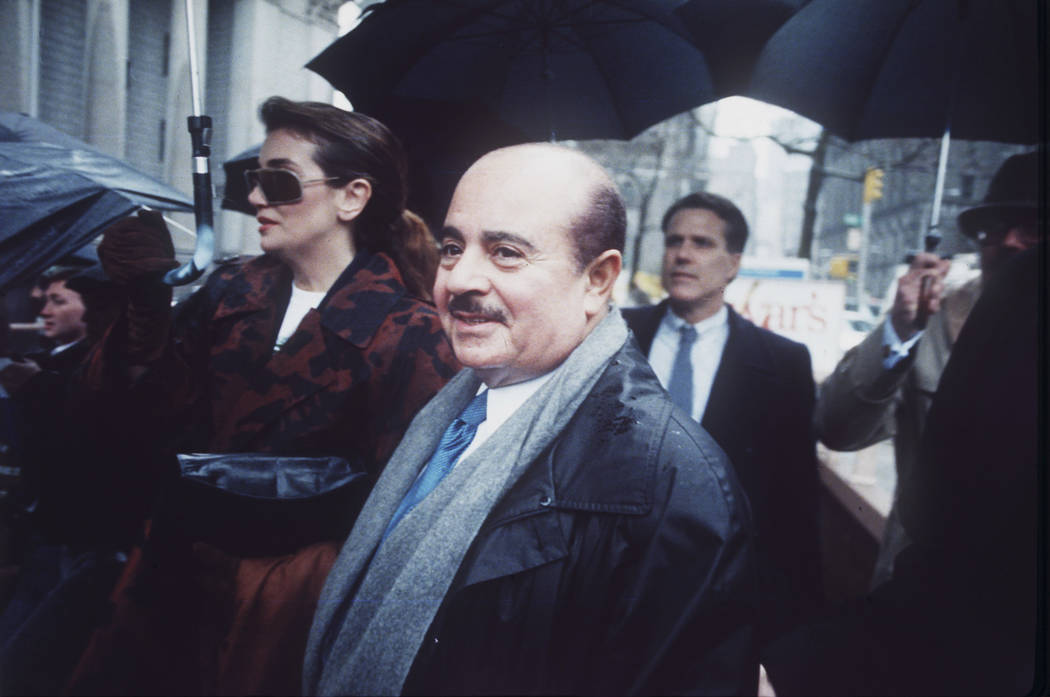 Adnan Khashoggi arrives at Manhattan Federal Court, New York, on April 4, 1990. Saudi arms dealer Khashoggi, once one of the world's richest men who was implicated in the Iran-Contra affair, has d ...