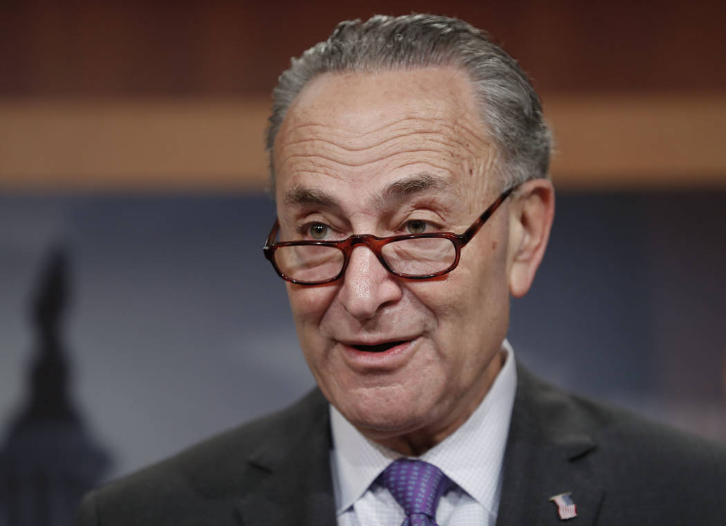 Senate Minority Leader Charles Schumer of N.Y. speaks during a news conference about the Paris climate agreement, Wednesday, May 24, 2017, on Capitol Hill in Washington. (AP Photo/Carolyn Kaster)