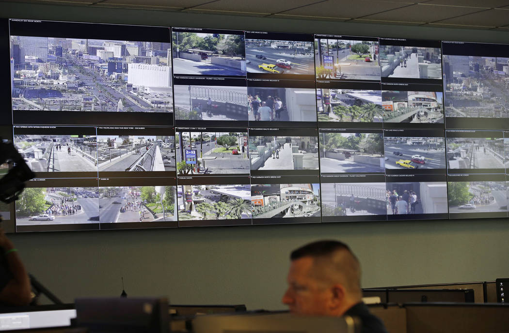 Security camera footage from around Las Vegas is shown on monitors at the Southern Nevada Counterterrorism Center in Las Vegas, May 23, 2017. As law enforcement authorities in Las Vegas try to cal ...