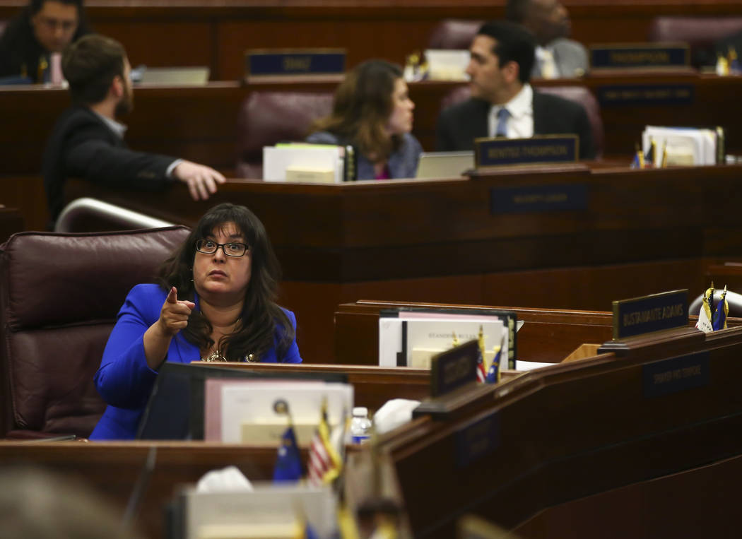 Assemblywoman Irene Bustamante Adams watches as the roll for Senate Bill 246 falls back during the final hour of the Nevada Legislature at the Legislative Building in Carson City on Monday, June 5 ...