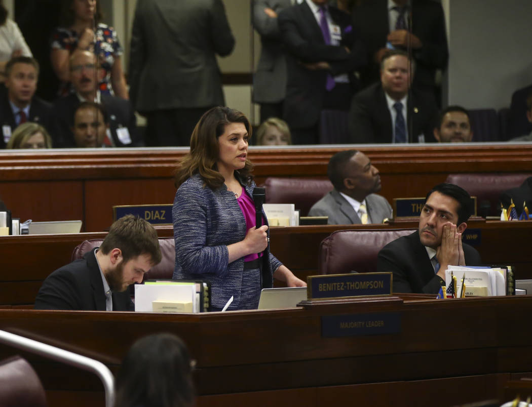 Assembly Majority Floor Leader Teresa Benitez-Thompson, D-Reno, during the final hour of the Nevada Legislature at the Legislative Building in Carson City on Monday, June 5, 2017. Chase Stevens La ...