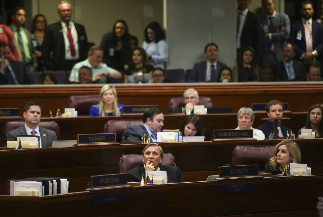 Assemblyman John Ellison, R-Elko, center, during the final hour of the Nevada Legislature at the Legislative Building in Carson City on Monday, June 5, 2017. Chase Stevens Las Vegas Review-Journal ...