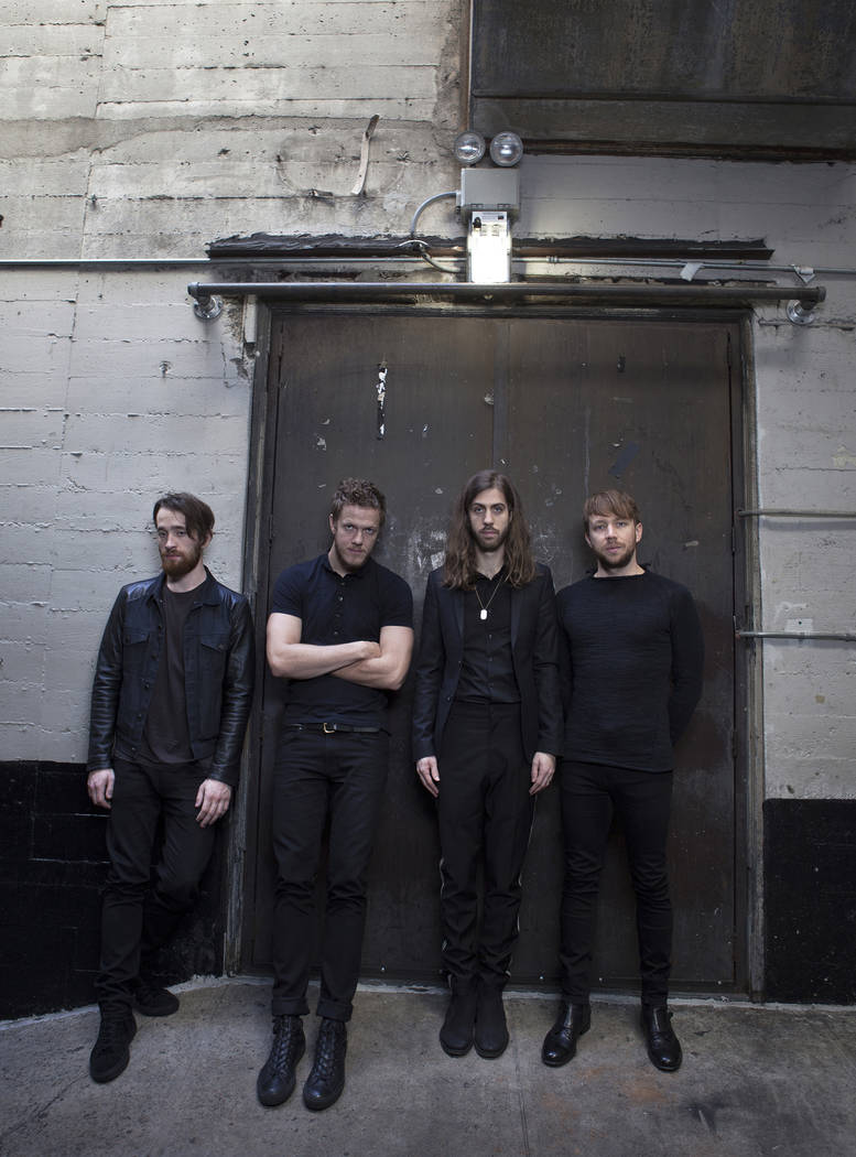 Musicians, from left, Dan Platzman, Dan Reynolds, Daniel Wayne Sermon and Ben McKee of Imagine Dragons pose for a portrait on Thursday, Feb. 5, 2015 at the Mayan Theater in Los Angeles (Photo by R ...
