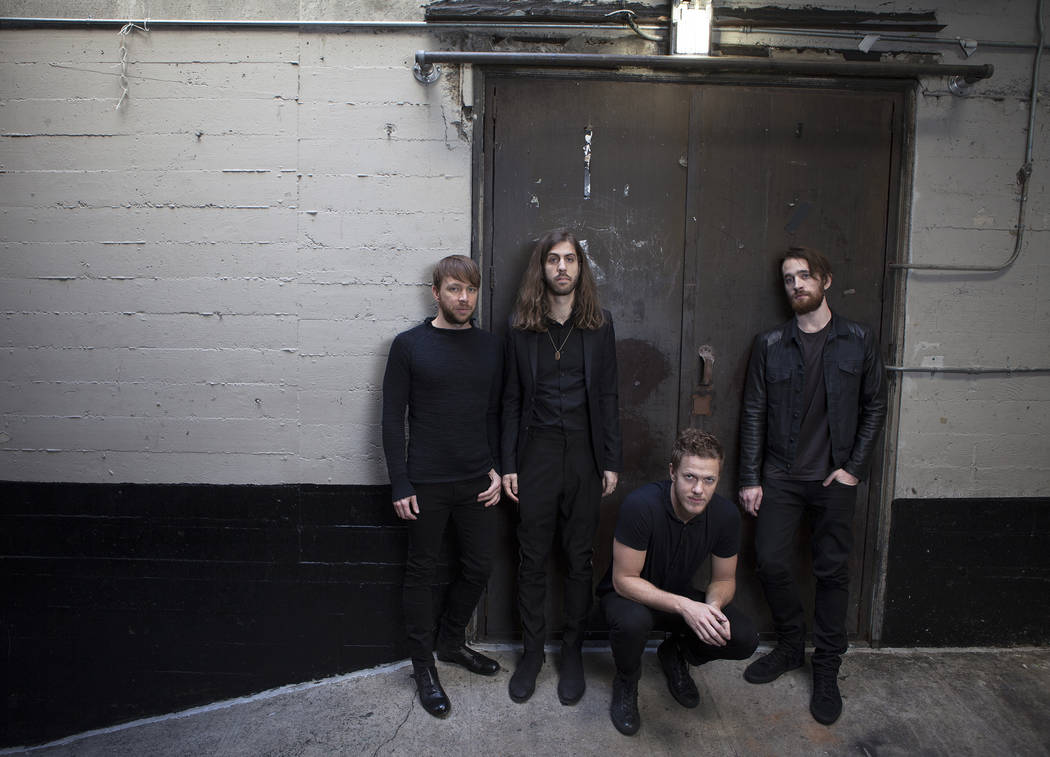 Musicians, from left, Ben McKee, Daniel Wayne Sermon, Dan Reynolds and Dan Platzman of Imagine Dragons pose for a portrait on Thursday, Feb. 5, 2015 at the Mayan Theater in Los Angeles (Photo by R ...