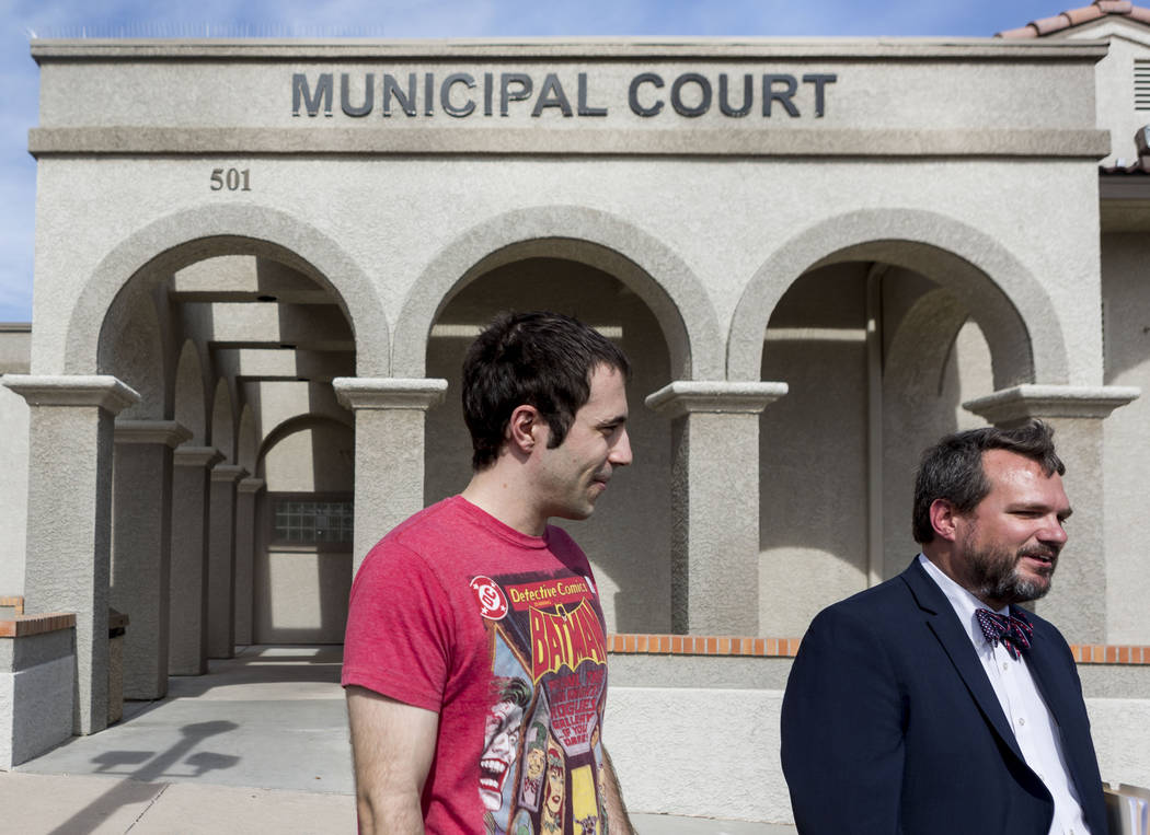 John Hunt, left, and his lawyer Stephen Stubbs at the Boulder City Municipal Court, Tuesday, June 6, 2017.  Hunt was facing new charges after he filed a federal law suit against the Boulder City P ...