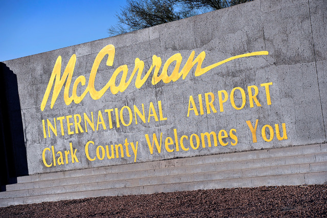 McCarran International Airport marque sign is seen on Tuesday, Nov. 25, 2014, in Las Vegas. (David Becker/Las Vegas Review-Journal)