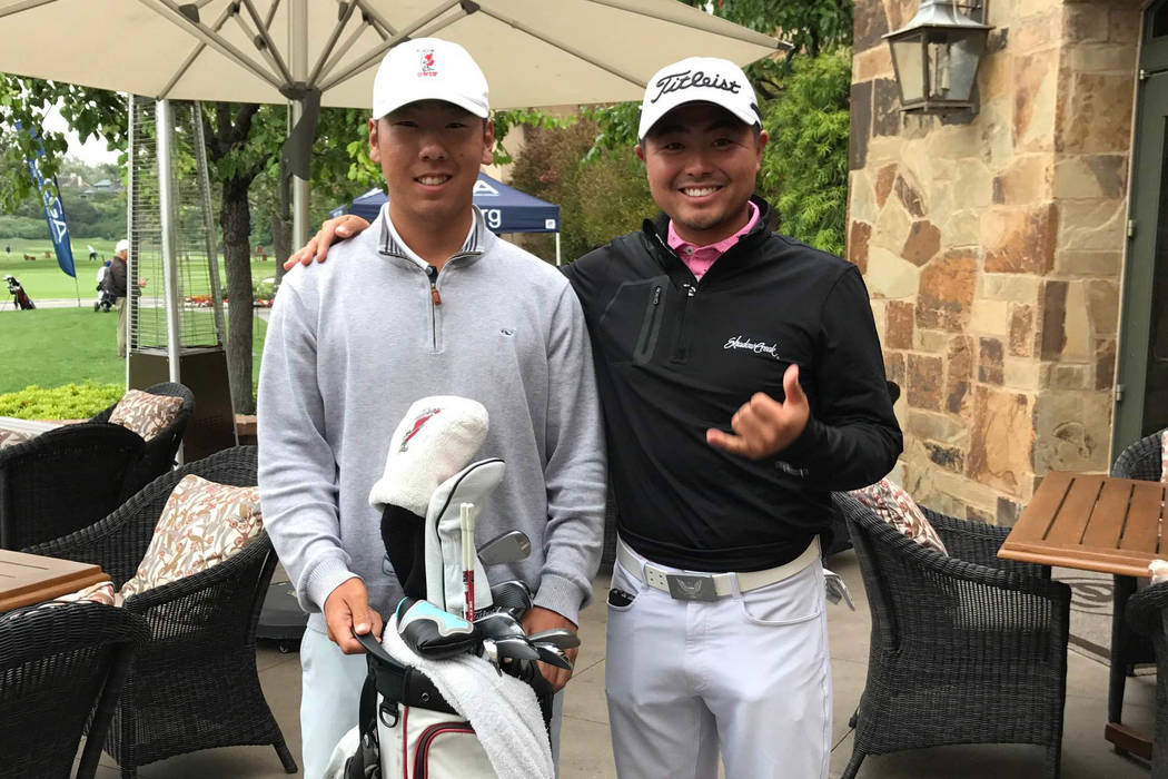 UNLV junior All-America John Oda (left) shot rounds of 64-68 at Big Canyon Country Club in Newport Beach, California, to qualify for the U.S. Open. His teammate, Justin Kim, right, caddied for him ...