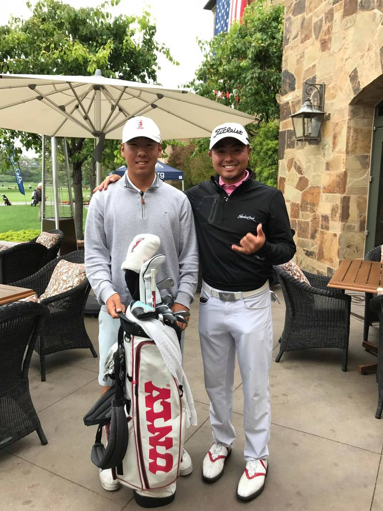 UNLV junior All-America John Oda (left) shot rounds of 64-68 at Big Canyon Country Club in Newport Beach, California, to qualify for the U.S. Open. His teammate, Justin Kim, caddied for him. (Phot ...