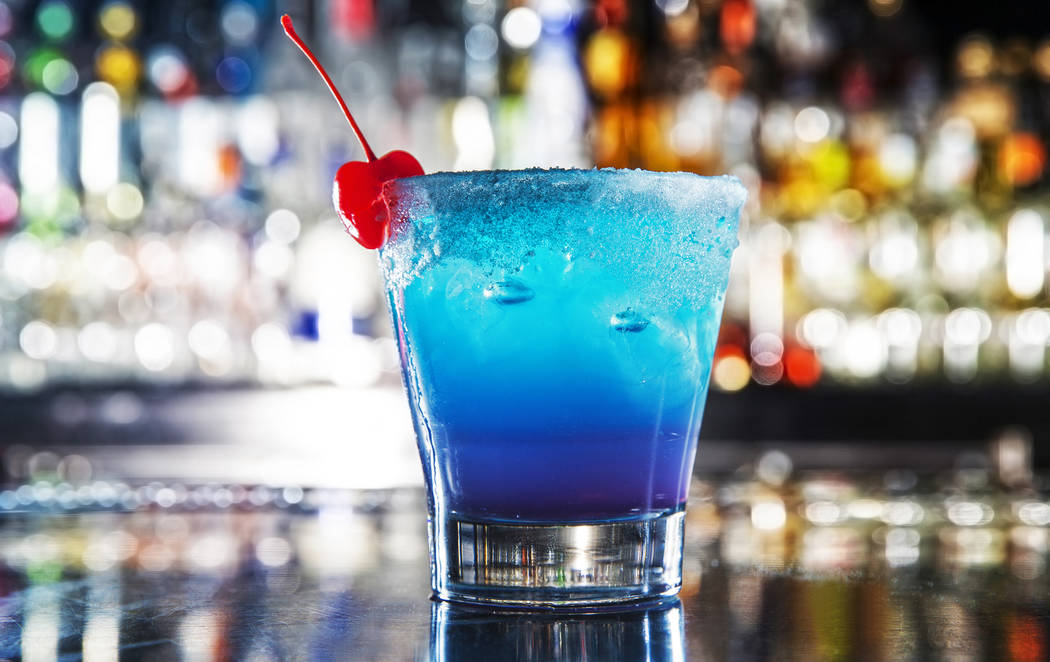 The Electric Blue EDC Cocktail with Ketel One Citron, Bacardi Superior, lemon juice, blue curaçao and blueberry Red Bull at Umami Burger on Monday, June 12, 2017, at SLS hotel-casino, in Las  ...