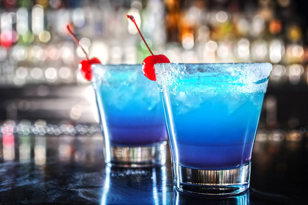 The Electric Blue EDC Cocktail with Ketel One Citron, Bacardi Superior, lemon juice, blue curaçao and blueberry Red Bull at Umami Burger on Monday, June 12, 2017, at SLS hotel-casino, in Las Vega ...