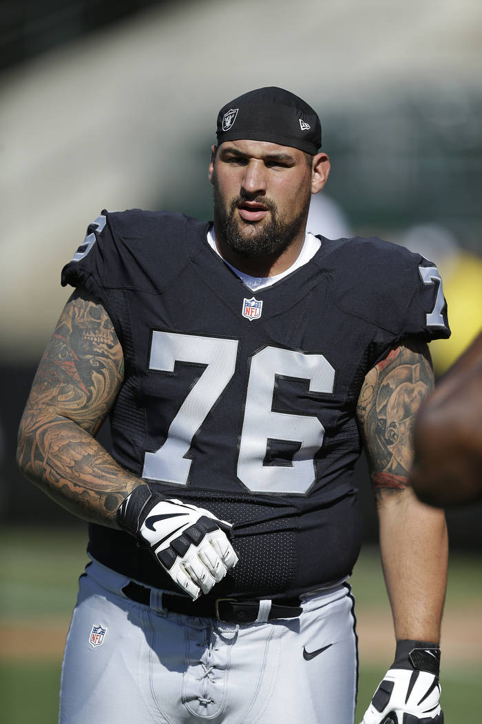 Oakland Raiders offensive guard Jon Feliciano before the start of an NFL preseason football game against the Tennessee Titans Saturday, Aug. 27, 2016, in Oakland, Calif. (AP Photo/Ben Margot)