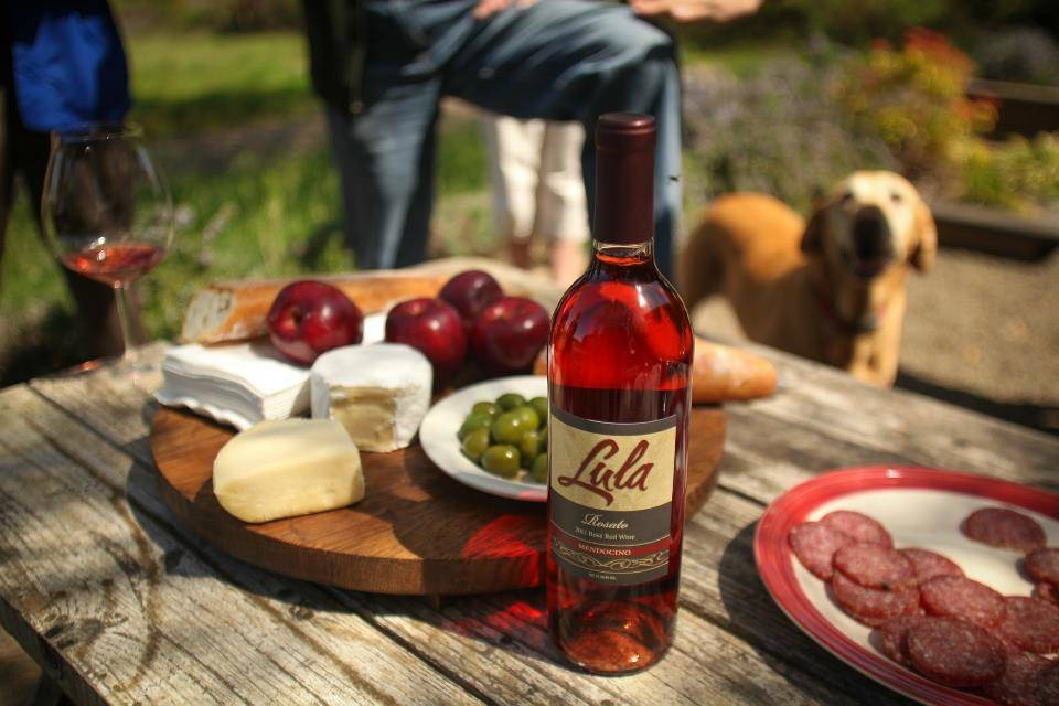 Wines at Lula Cellars, such as this Rosato, are grown and produced in Mendocino County. Lula Cellars