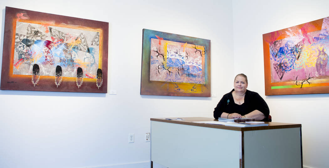 Nevada Humanities Program wrangler Bobbie Ann Howell in the Nevada Humanities Program Gallery in downtown Las Vegas, Thursday, June 8, 2017. All exhibits displayed  celebrate Nevadans and Nevadan' ...