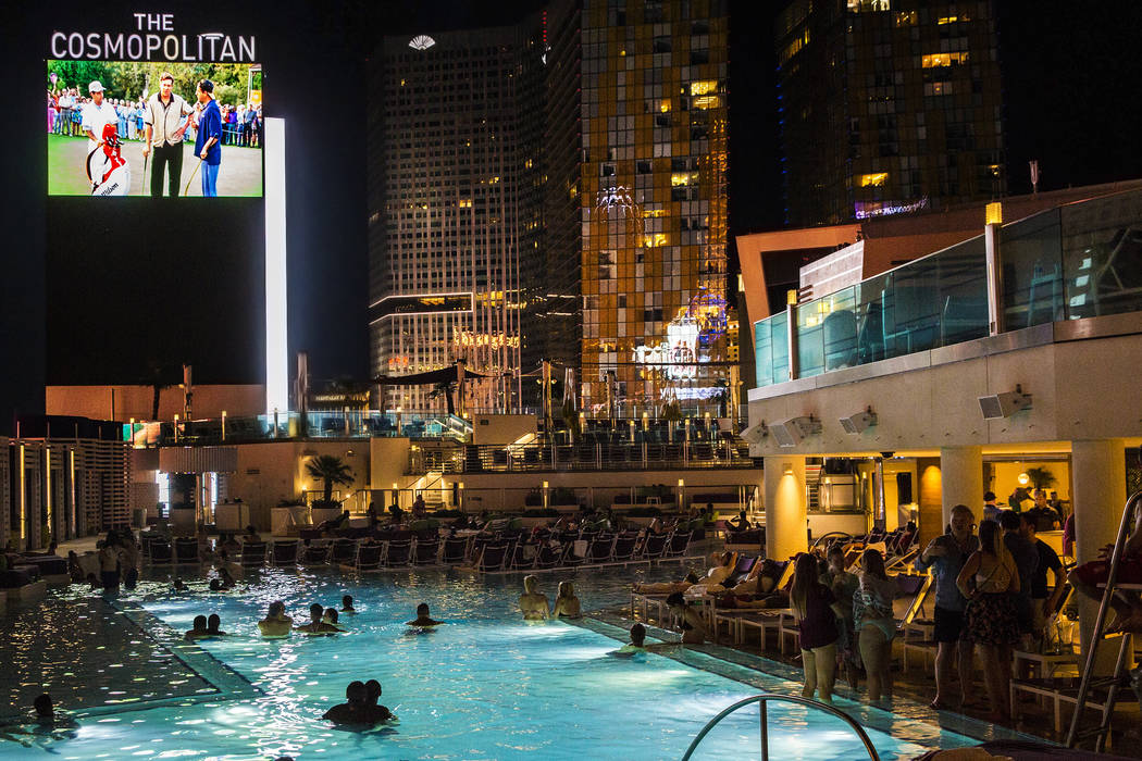 Pool goers enjoy a showing of Happy Gilmore during Dive in Movies at Boulevard Pool on Monday, June 5, 2017, at the Cosmopolitan hotel-casino, in Las Vegas. Benjamin Hager Las Vegas Review-Journal ...