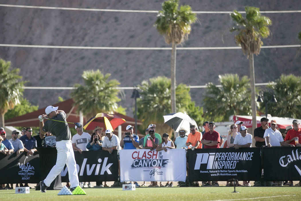 "Ryan Reisbeck takes first for men at the the World Long Drive Association's ""Clash in the Canyon"" at Mesquite Regional Sports and Event Complex on Tuesday, June 6, 2017, in Mesqu ..."