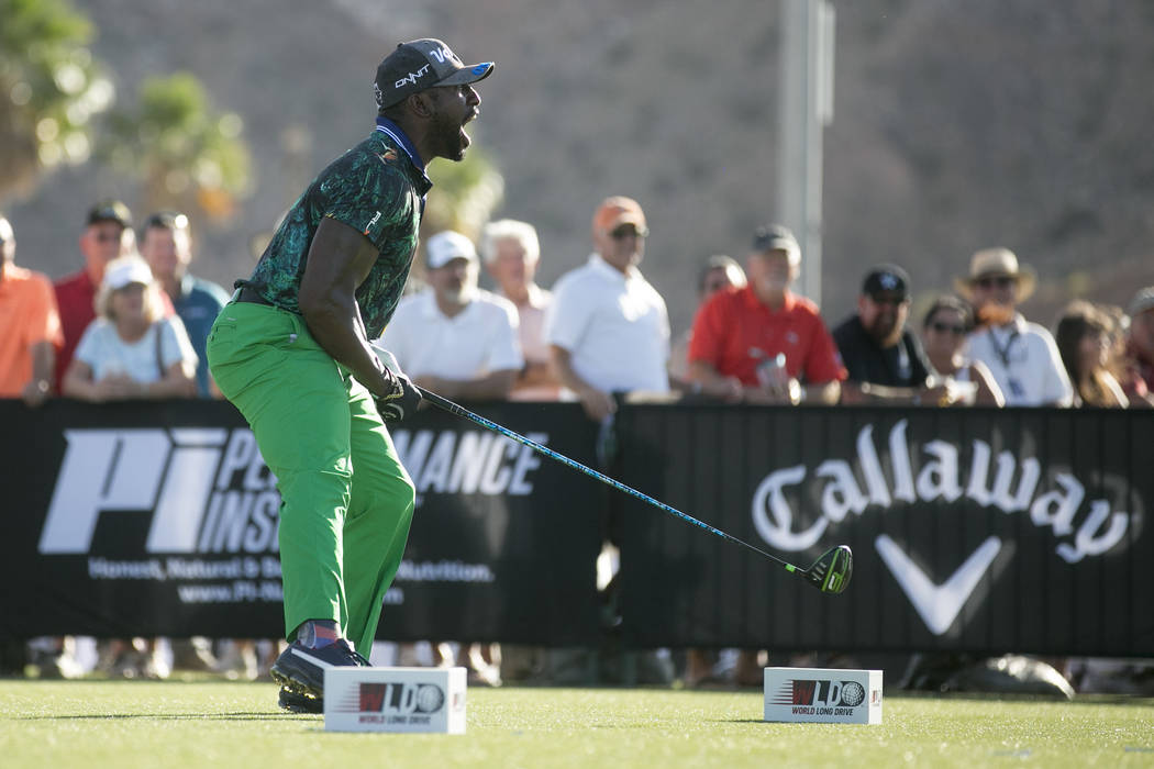 "Maurice Allen reacts to his hit and advances to the semi-finals at the World Long Drive Association's ""Clash in the Canyon"" at Mesquite Regional Sports and Event Complex on Tuesd ..."