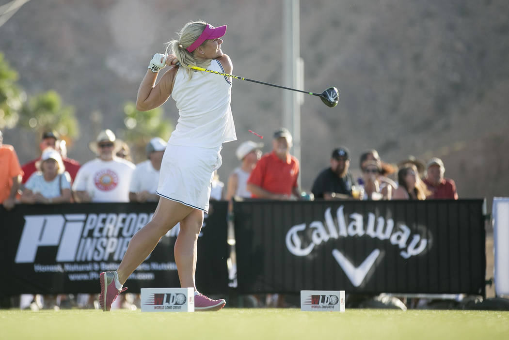 "Sandra Carlborg competes at the World Long Drive Association's ""Clash in the Canyon"" at Mesquite Regional Sports and Event Complex on Tuesday, June 6, 2017, in Mesquite. Bridget  ..."