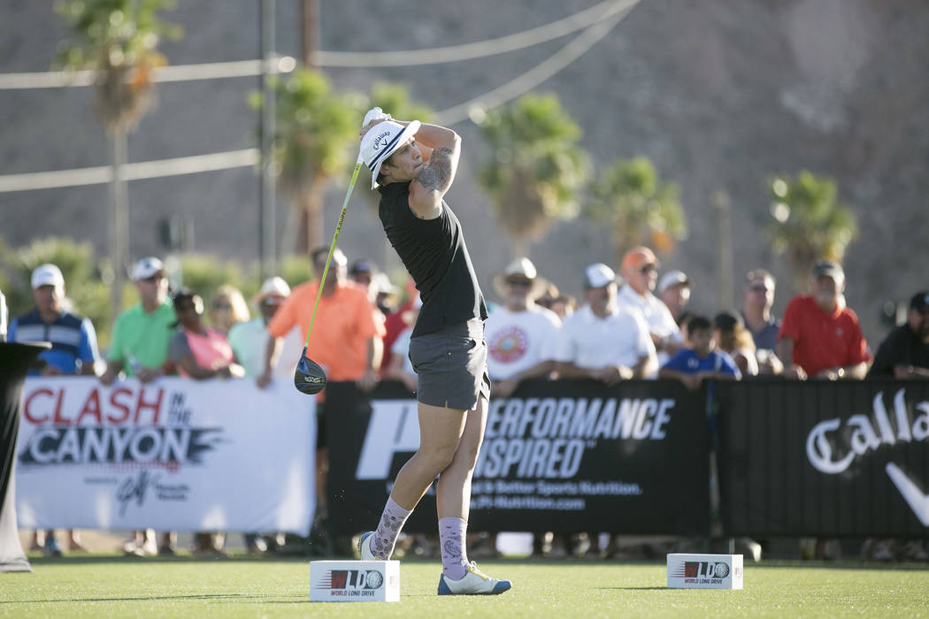 "Chloe Garner takes first for women at the World Long Drive Association's ""Clash in the Canyon"" at Mesquite Regional Sports and Event Complex on Tuesday, June 6, 2017, in Mesquite ..."