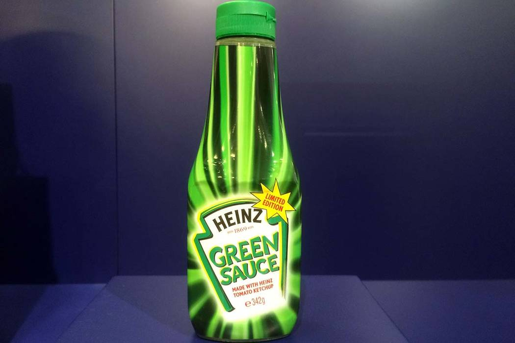 A bottle of Heinz Green Sauce tomato ketchup is on display at the Museum of Failure in Helsingborg, Sweden. Green Heinz ketchup, with dozens of other items can be found in the new Museum of Failur ...