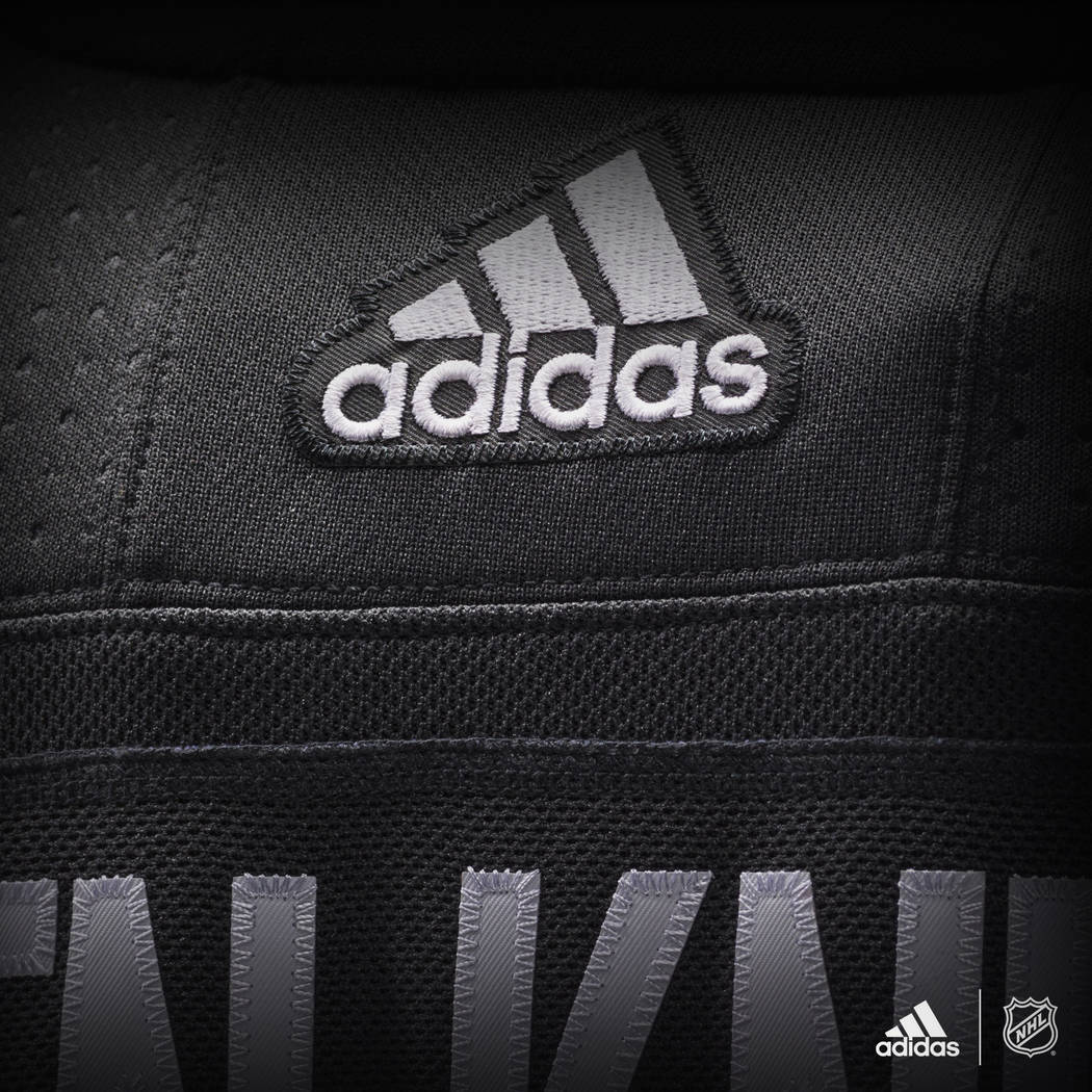 The Adidas logo is seen on the Vegas Golden Knights jersey. Adidas unveiled the NHL jerseys on Tuesday, June 20, 2017. (Adidas)
