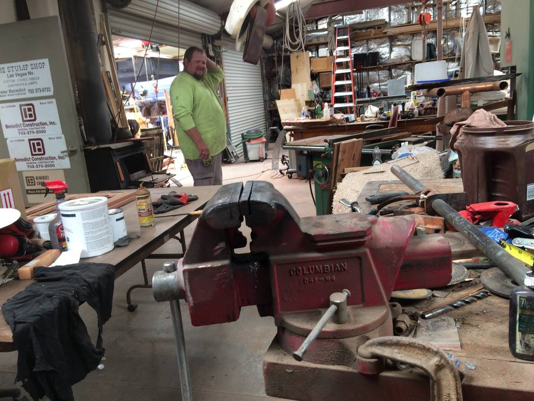 Kyle Stinnett's northwest woodworking shop is filled with tools of every  type, seen April 2017 - Crafting Reclaimed Lumber A Labor Of Love For Las Vegas Resident