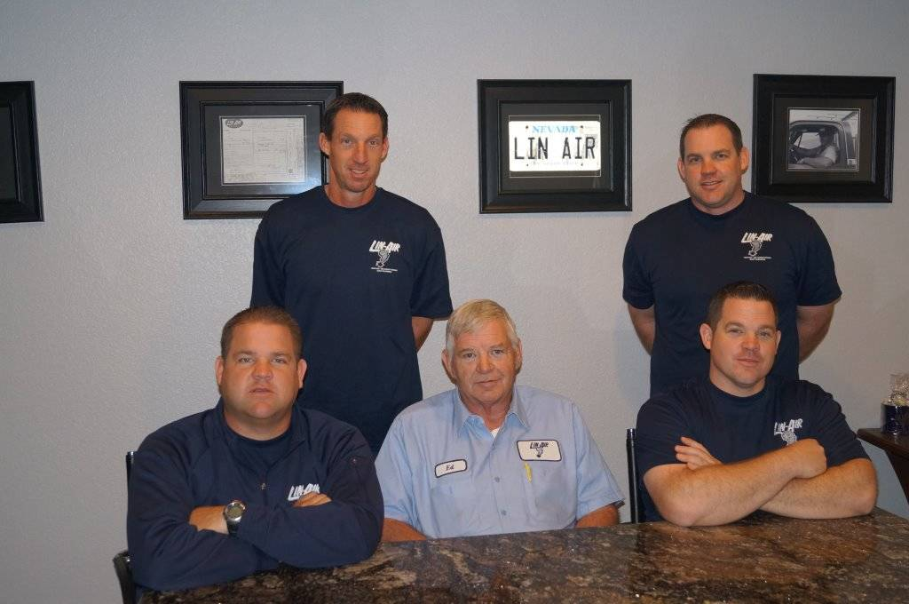 Ed Johnson (seat, in light blue shirt) and his wife Terrie (not seen) founded Lin-Air  in 1970, and now their sons have followed in his career footsteps. The sons had opted for other occupations s ...
