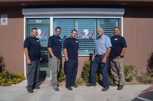 Seen left to right  Layne Johnson, Brent Johnson, Lance Johnson, Ed Johnson and Brad Johnson, the family behind  Lin-Air, which  Ed  and his wife Terrie (not seen) founded Lin-Air  in 1970. Now th ...