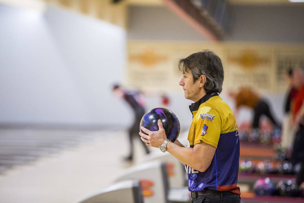 Amleto Monacelli eyes up his shot while practicing for the Suncoast PBA Senior U.S. Open at the Suncoast Bowling Center on Sunday, June 11, 2017.  Patrick Connolly Las Vegas Review-Journal @PConnPie