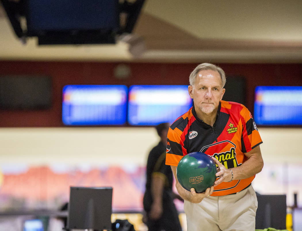 Ron Mohr eyes up his shot while practicing for the Suncoast PBA Senior U.S. Open at the Suncoast Bowling Center on Sunday, June 11, 2017.  Patrick Connolly Las Vegas Review-Journal @PConnPie