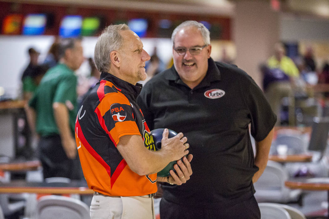 Ron Mohr, left, talks with Jim Montgomery in between shots while practicing for the Suncoast PBA Senior U.S. Open at the Suncoast Bowling Center on Sunday, June 11, 2017.  Patrick Connolly Las Veg ...