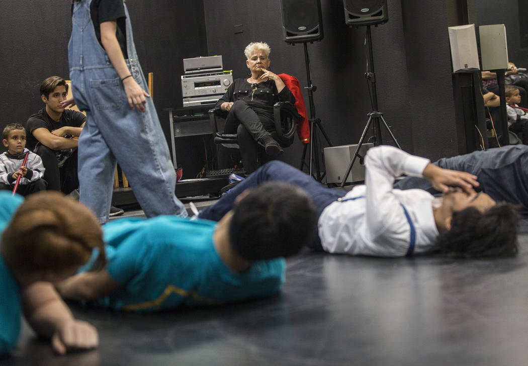 "Broadway West owner Susan Swanson, middle, directs rehearsal for ""Dance Wars,"" a tribute to Debbie Reynolds and Carrie Fisher on Thursday, June 8, 2017, in Las Vegas. Benjamin Hager Las Vegas Revi ..."