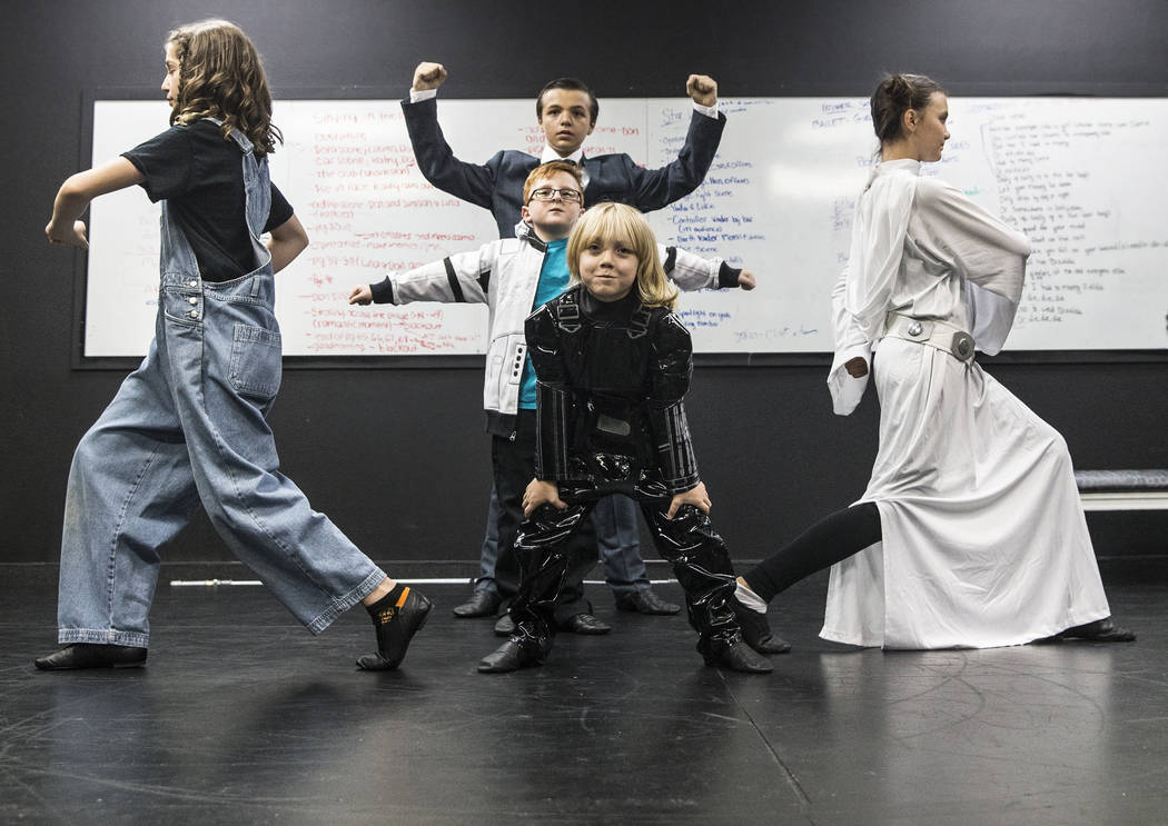 "Students at Broadway West work through rehearsal of ""Dance Wars,"" a tribute to Debbie Reynolds and Carrie Fisher on Thursday, June 8, 2017, in Las Vegas. Benjamin Hager Las Vegas ..."