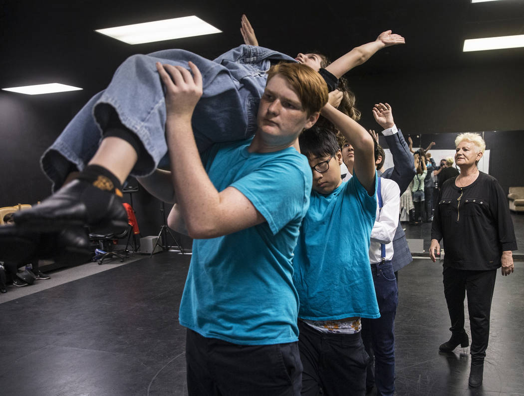 "Broadway West owner Susan Swanson, right, directs rehearsal for ""Dance Wars,"" a tribute to Debbie Reynolds and Carrie Fisher on Thursday, June 8, 2017, in Las Vegas. Benjamin Hag ..."