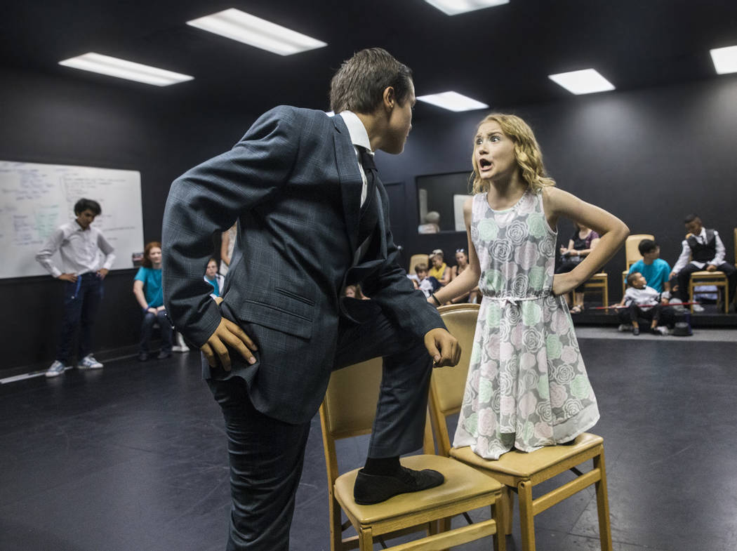 "Jarren Kolisnek, left, Annie Walters work through a scene during rehearsal for Broadway West's ""Dance Wars,"" a tribute to Debbie Reynolds and Carrie Fisher on Thursday, June 8, 2 ..."
