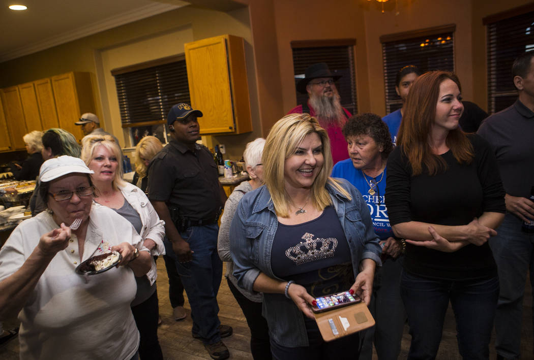 Las Vegas City Council Ward 6 candidate Michele Fiore, a former Nevada Assemblywoman, gathers with supporters at her home in Las Vegas on primary night, April 4, 2017. (Chase Stevens/Las Vegas Rev ...