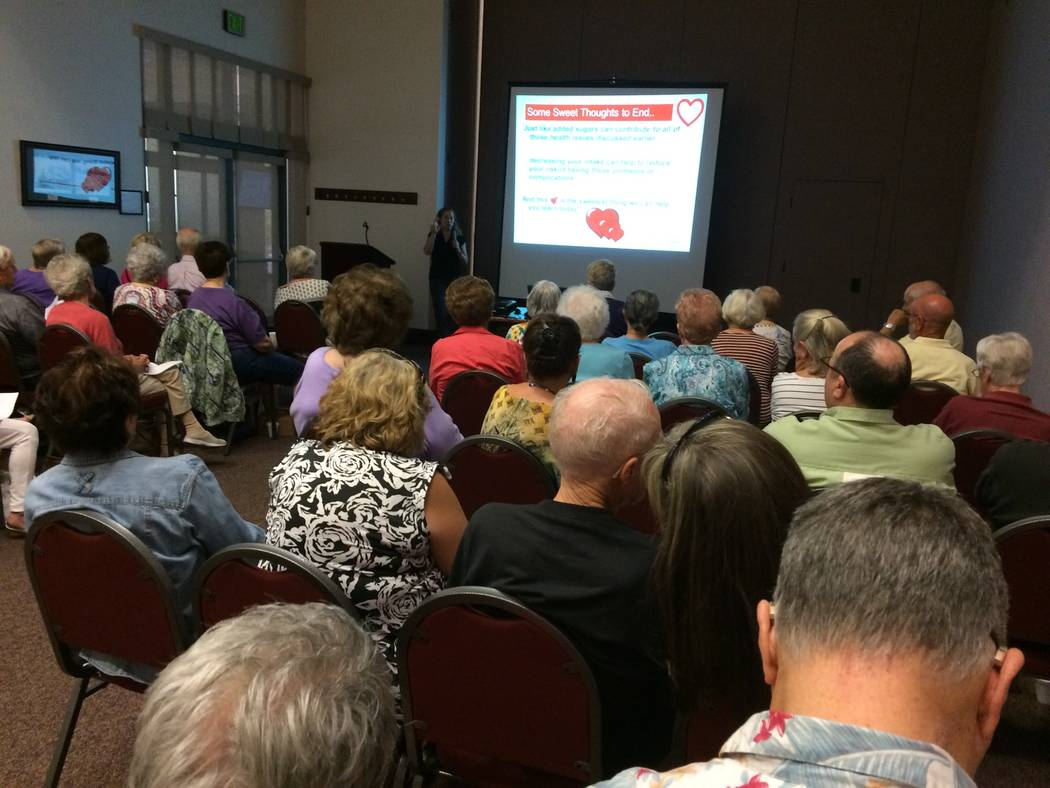 Monica Serna, clinical nutrition manager at Desert Springs Hospital, speaks to Sun City Summerlin residents May 11, 2017, on the risks associated with added sugar.  She said in 1776, the average A ...