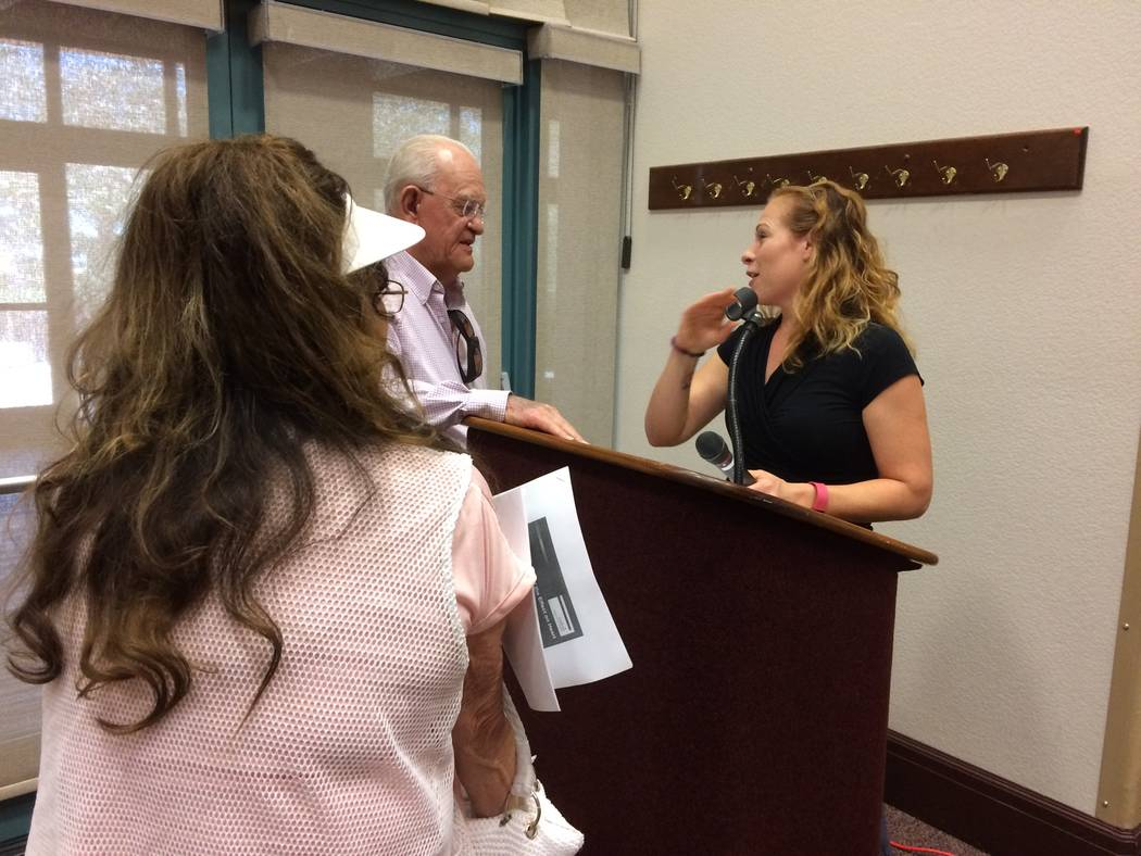 Monica Serna, clinical nutrition manager at Desert Springs Hospital, answers questions from Sun City Summerlin residents May 11, 2017, after her talk on added sugars in our diets. She said in 1776 ...
