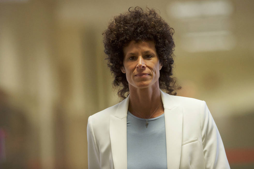 Andrea Constand arrives during Bill Cosby's sexual assault trial at the Montgomery County Courthouse in Norristown, Pa., Wednesday, June 7, 2017. Cosby is accused of drugging and sexually assaulti ...