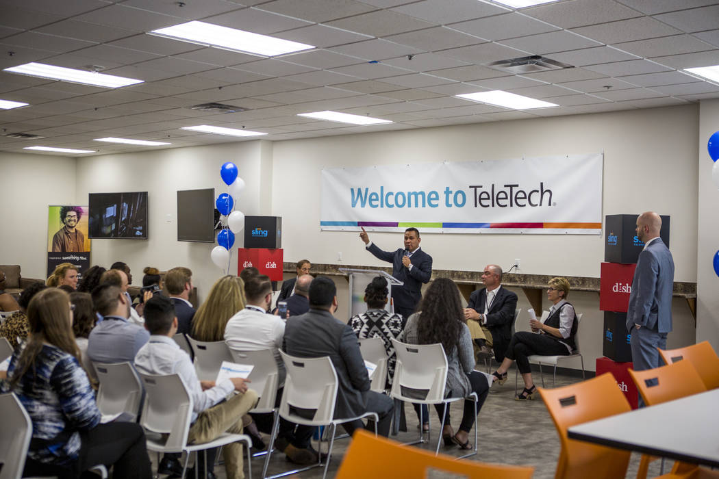 Executives speak during the grand opening of the new TeleTech call center at the Boulevard Mall in Las Vegas on Thursday, June 8, 2017. The company had a soft opening in March. Patrick Connolly La ...