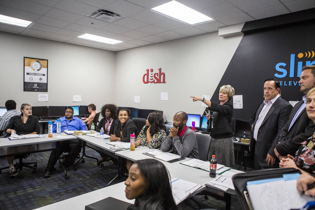 Diana Sterling, a trainer with TeleTech, gives a tour of a training room at the new TeleTech call center at the Boulevard Mall in Las Vegas on Thursday, June 8, 2017. Patrick Connolly Las Vegas Re ...