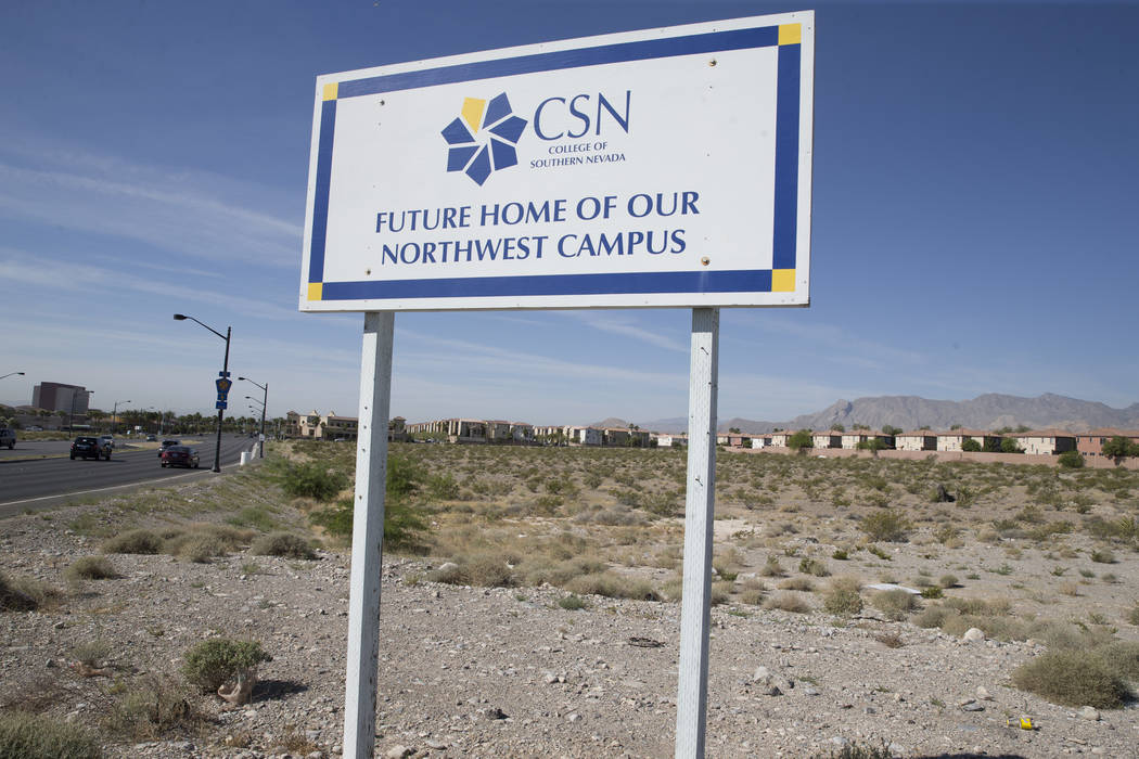 The future site for the College of Southern Nevada Northwest Campus near the intersection of Elkhorn Road and Grand Montecito Parkway on Tuesday, June 6, 2017 in Las Vegas. (Erik Verduzco/Las Vega ...