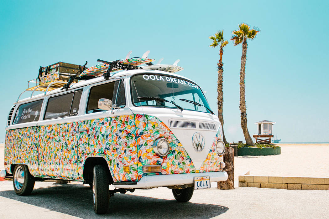 The VW bus has over 40,000 stickers on it, wrapped 12 layers deep, with people's dreams on those stickers.