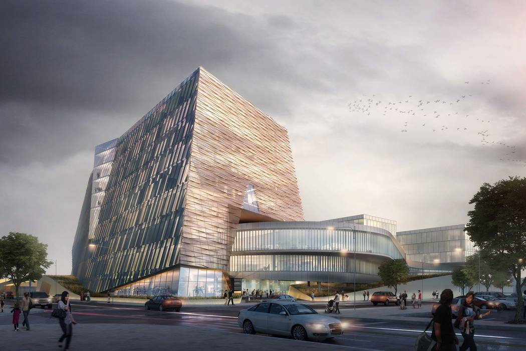 Preliminary architectural rendering for the UNLV Medical School building. (UNLV)