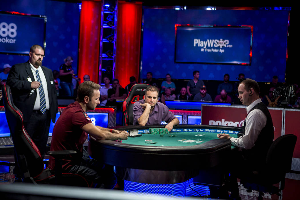 Daniel Negreanu, left, and Abe Mosseri compete in the $10,000 Omaha Hi-Lo 8 or Better at the World Series of Poker on Wednesday, June 7, 2017.  Patrick Connolly Las Vegas Review-Journal @PConnPie