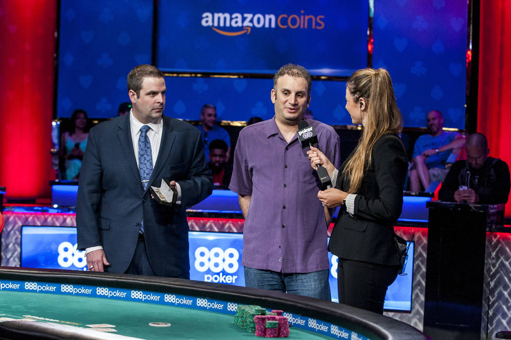 Abe Mosseri is interviewed following his victory in the $10,000 Omaha Hi-Lo 8 or Better at the World Series of Poker on Wednesday, June 7, 2017.  Patrick Connolly Las Vegas Review-Journal @PConnPie
