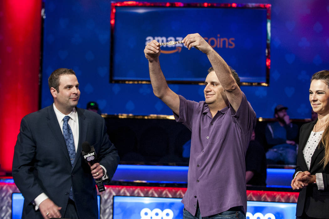 Abe Mosseri receives a World Series of Poker bracelet, his second, after winning the $10,000 Omaha Hi-Lo 8 or Better at the World Series of Poker on Wednesday, June 7, 2017.  Patrick Connolly Las  ...