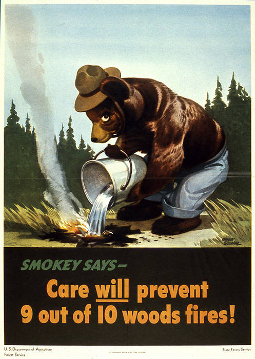 The first appearance of Smokey Bear in 1944. U.S. Forest Service