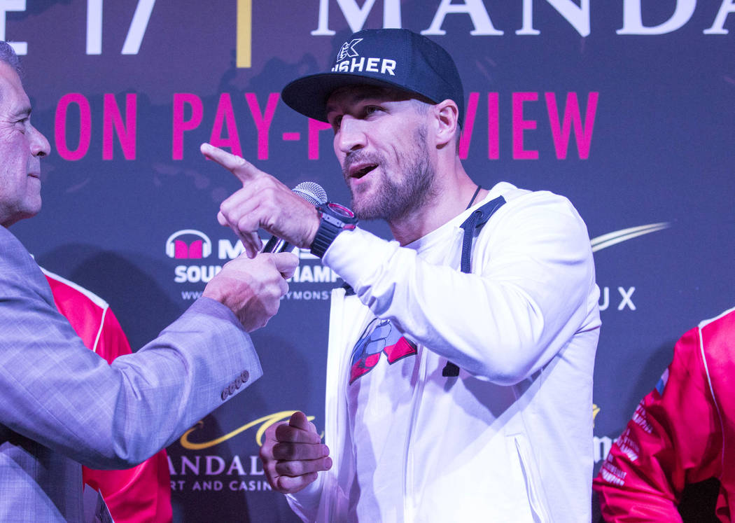 Boxer Sergey 'Krusher' Kovalev of Russia addresses reporters during the grand arrivals event at the Mandalay Bay Resort and Casino in Las Vegas on Tuesday, June 13, 2017. Sergey Kovalev will chall ...