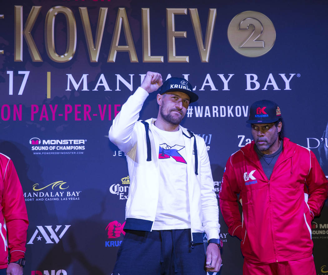 Boxer Sergey 'Krusher' Kovalev of Russia acknowledges the crowd during the grand arrivals event at the Mandalay Bay Resort and Casino in Las Vegas on Tuesday, June 13, 2017. Sergey Kovalev will ch ...