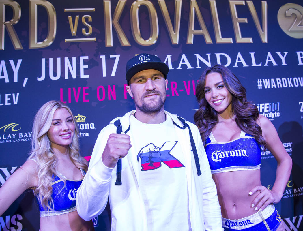 Boxer Sergey 'Krusher' Kovalev of Russia during the grand arrivals event at the Mandalay Bay Resort and Casino in Las Vegas on Tuesday, June 13, 2017. Sergey Kovalev will challenge Andre Ward for  ...
